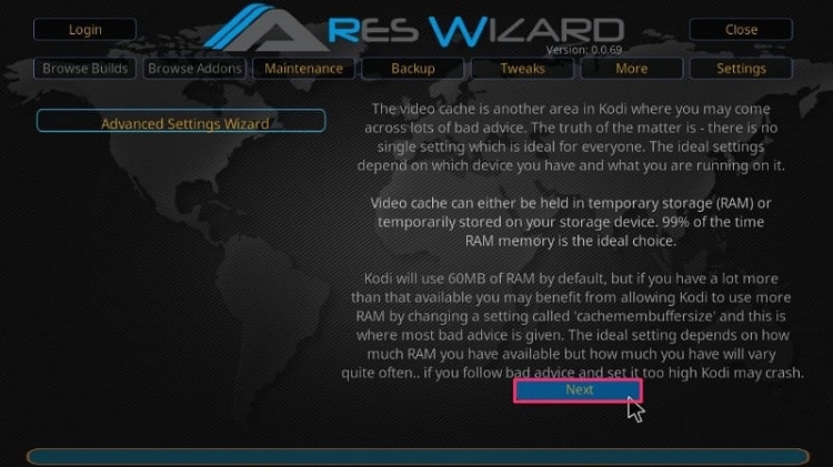 Click on Next Button for ARES WIZARD Advanced Settings Wizard