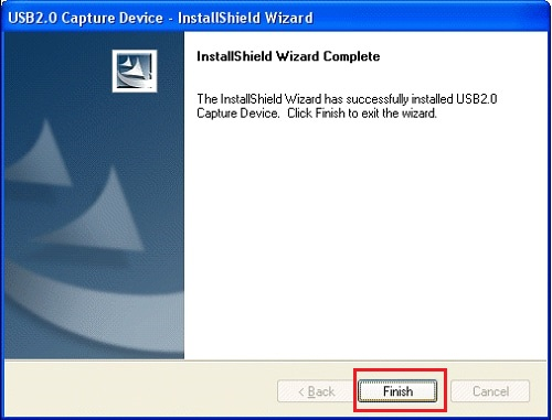 finish USB 2.0 capture device driver wizard