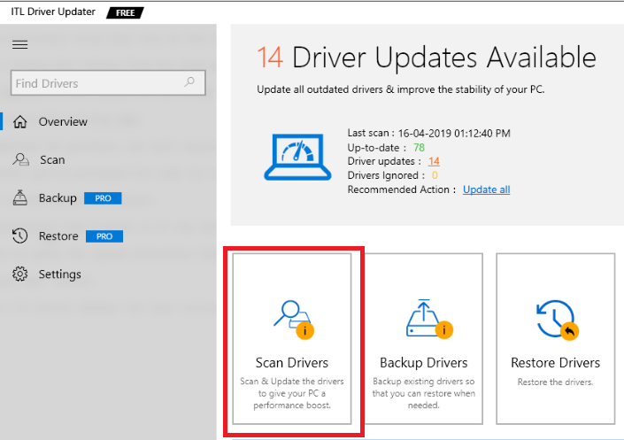 scan driver from ITL driver updater