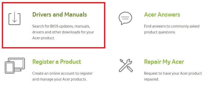 select Drivers and Manuals for acer driver