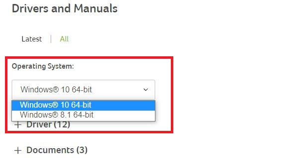 select the version of your operating system for acer driver