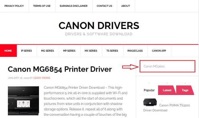 search Canon MG3600