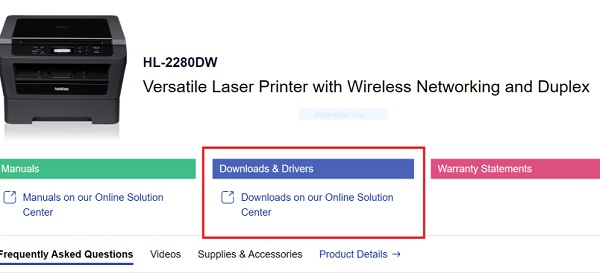 Select Downloads & Drivers for HL-2280DW driver