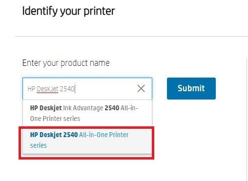 type HP DeskJet 2540 in the search box