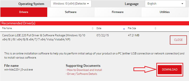 Download to get the latest CanoScan LiDE 220 driver