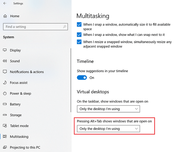 change Pressing alt+tab shows windows as only the desktop I'm using