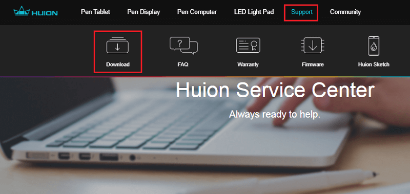 choose support for download huion driver