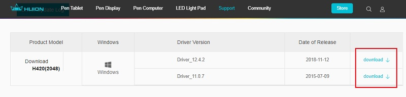 click on download option for huion h420 driver