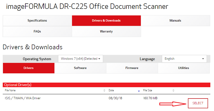 download the latest Canon DR-C225 driver