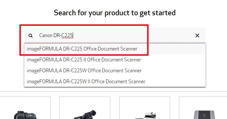 enter Canon DR-C225 in the text box