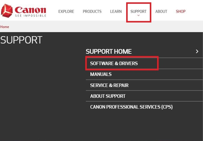 select software & drivers from canon website