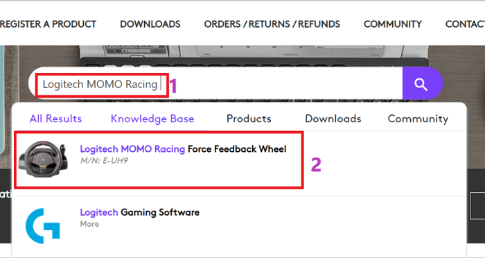search model of your Logitech wheel and select result