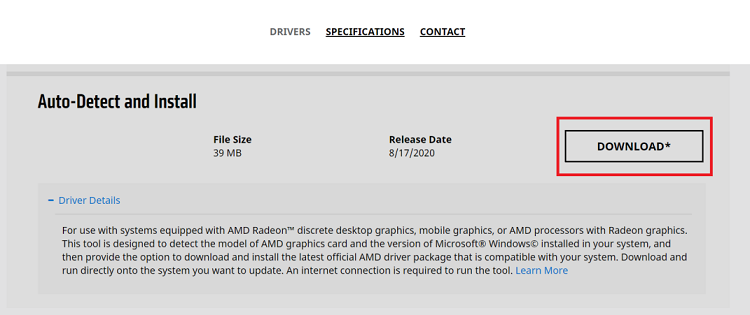 download the AMD driver auto detect tool