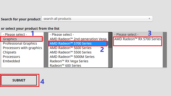 select your amd product