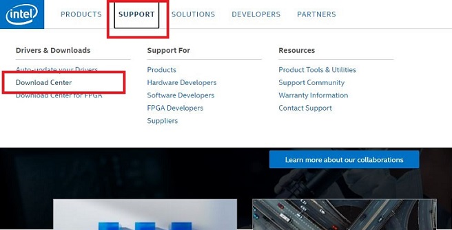 intel-Support-tab-and-click-on-download-center