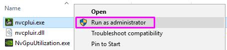 run nvcplui file as administrator
