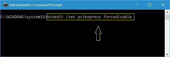 bcdedit set pciexpress forcedisable