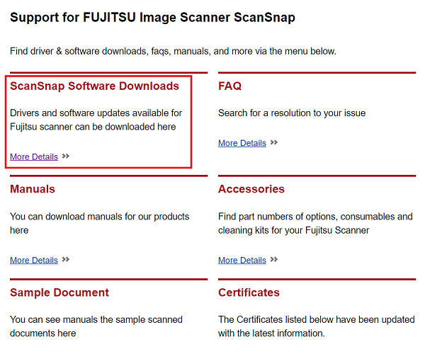 click on ScanSnap Software Downloads