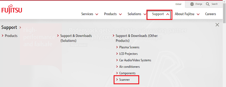 Click on the Support option and select Scanner