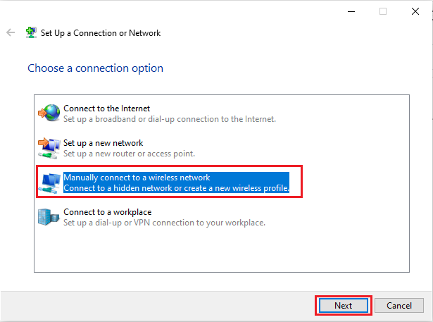 click on manually connect to a wireless network