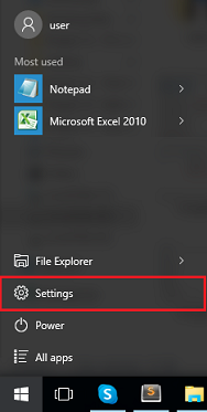 click on setting after click on start menu icon
