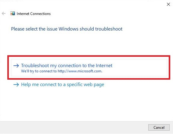 Troubleshoot my connection to the Internet option
