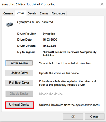 click on uninstall device