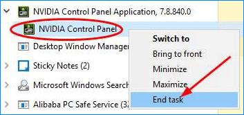 End Task NVIDIA Control Panel