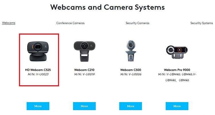 Choose HD Webcam C525 from the Webcams column