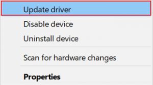 select Update Driver