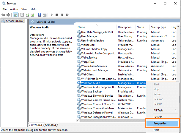 Configure Windows Audio Service-1
