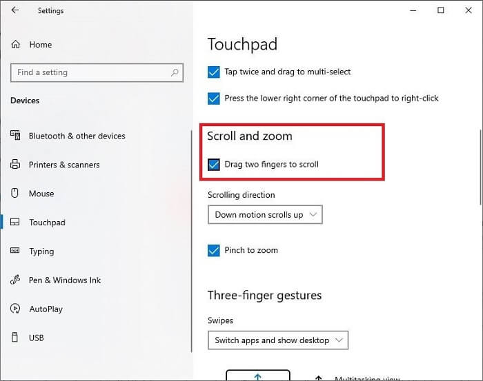 Enable Two-Finger Scroll On Windows 10-3