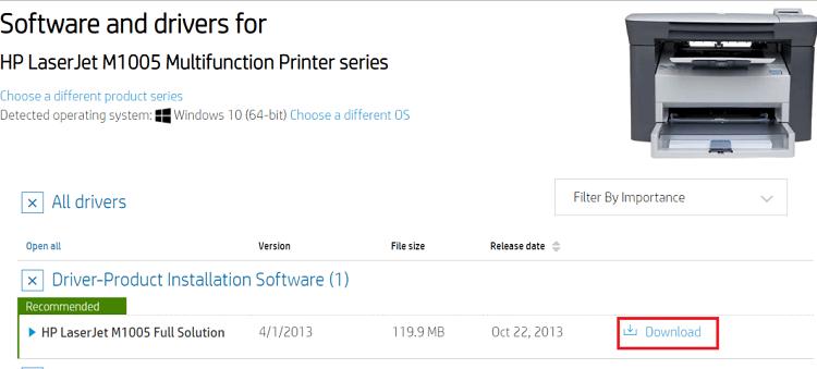 Download HP LaserJet M1005 MFP scanner driver from HP website-3