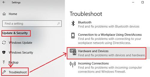 Run the hardware troubleshooter-1