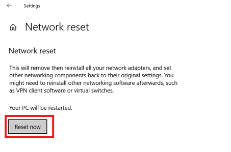 Perform network reset-1