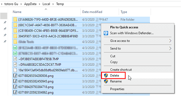 Remove the temporary files-1