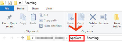 Steps to delete files from AppData -1