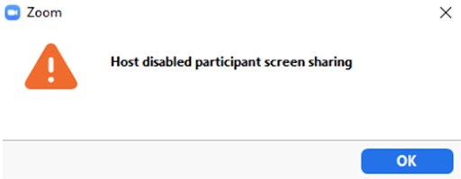Host disabled participant screen sharing error