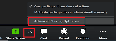 Zoom advanced sharing option