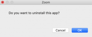Zoom uninstall confirmation mac