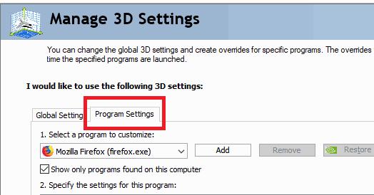 Nvidia 3D program setting