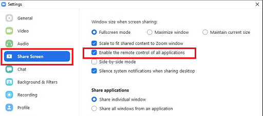 Zoom share screen setting