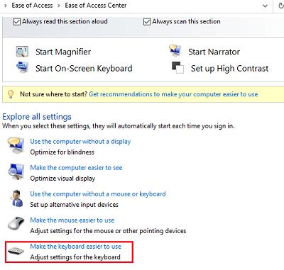 Disable the filter keys for Lenovo keyboard problem