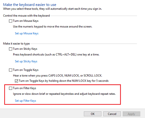 Disable the filter keys to fix Lenovo Laptop Keyboard issues