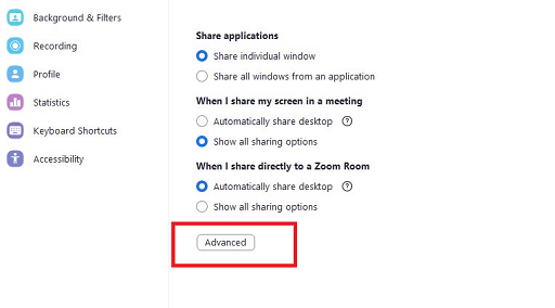 Zoom advanced share screen setting