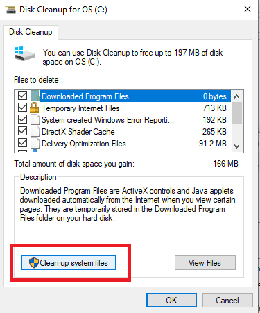 How to free disk space use disk clenup system file