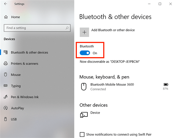 Check your device Bluetooth enable/disable