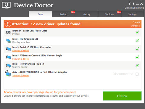 Update all the outdated drivers with device doctor