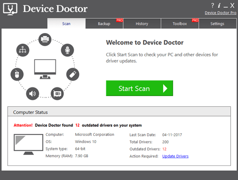 Device Doctor interface
