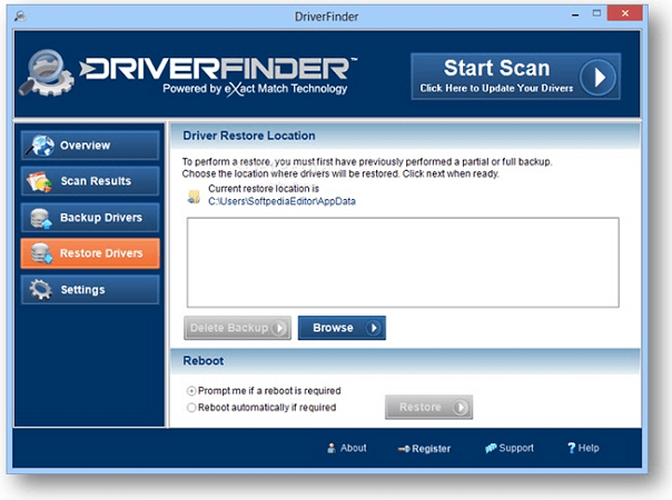 Restore drivers with driverfinder